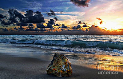Sunrise Seascape Wisdom Beach Florida C3 Art Print by Ricardos Creations