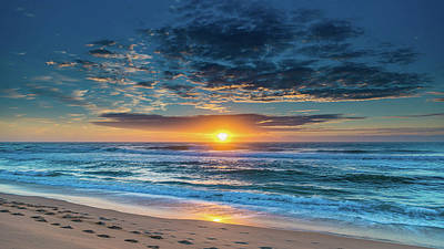 Sunrise Seascape With Footprints In The Sand Art Print