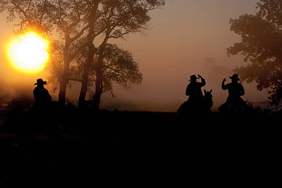 Cattle Drive Photograph - Sunrise Silhouette ... Morning Ride by Toni Hopper