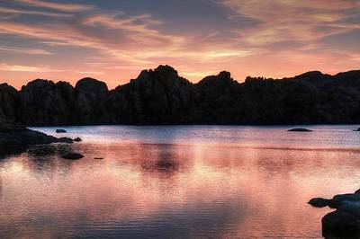 Watson Lake Reflections Photograph - Sunrise Silhouettes by Donna Kennedy