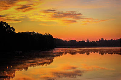 Photograph - Sunrise Silhouettes - Lake Landscape by Barry Jones