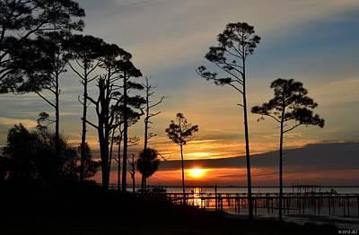 Photograph - 0208 Sunrise Silhouettes On Sound by Jeff at JSJ Photography