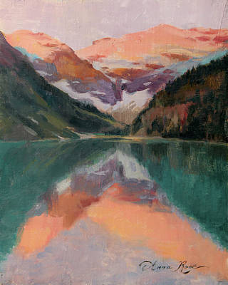 Banff Wall Art - Painting - Sunrise Sketch, Lake Louise by Anna Rose Bain