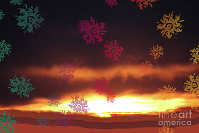 Digital Art - Sunrise Snowflake by Donna L Munro