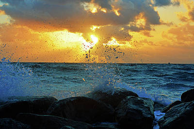 Ocean Photograph - Sunrise Spray 3 by Ken Figurski