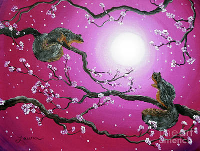 Sakura Painting - Sunrise Squirrels by Laura Iverson