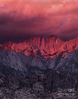 Photograph - Sunrise Storm And Alpenglow Alabama Hills California by Dave Welling