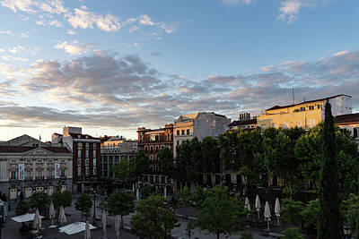 Photograph - Sunrise Sunlight At Plaza De Santa Ana Madrid Spain by Georgia Mizuleva
