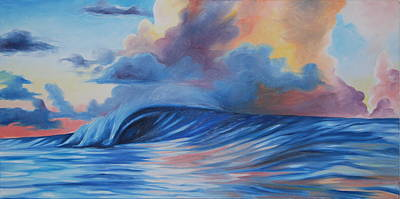 Sunrise Surf Art Print by Katherine  Fyall