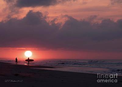 Photograph - Sunrise Surfer by Linda Mesibov