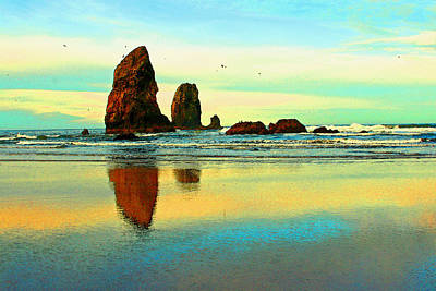 Sunrise  The Needles At Cannon Beach Art Print by Margaret Hood