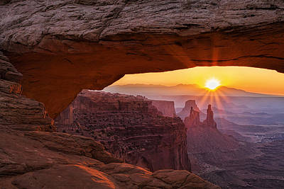 Sunburst Photograph - Sunrise Through Mesa Arch by Andrew Soundarajan
