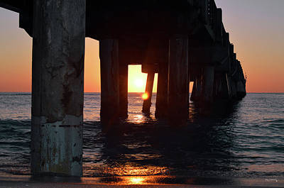Photograph - Sunrise Under The Lake Worth Fishing Pier 2 by Ken Figurski