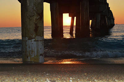 Photograph - Sunrise Under The Lake Worth Fishing Pier  by Ken Figurski