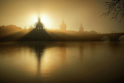 Photograph - Sunrise View. Detail Of Church At Krizovnicke Square. Sunlight Over Historical Building, Prague, Czech Republic by Marek Kijevsky