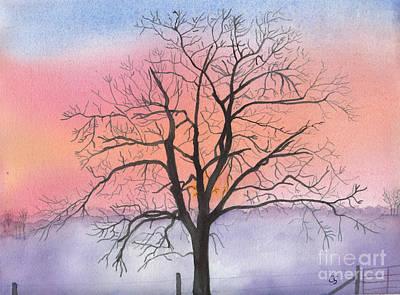 Sunrise Walnut Tree 2 Watercolor Painting Art Print