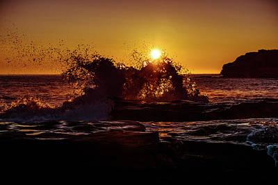 Photograph - Sunrise Waves Crash  by Chris Bordeleau