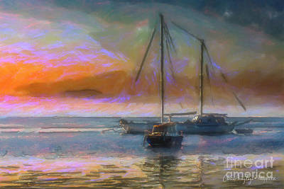 Painting - Sunrise With Boats by Chris Armytage