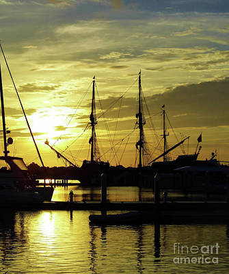 Blue Pirate Ships Landscape Photograph - Sunrise With El Galeon by D Hackett
