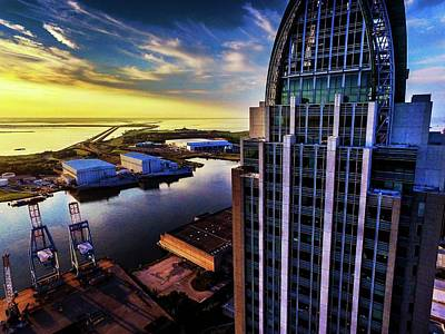 Photograph - Sunrise With The Rsa Building And Mobile Bay V2 by Michael Thomas