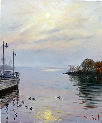 Shores Painting - Sunrise by Ylli Haruni