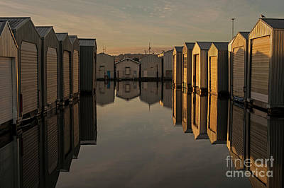 Photograph - sunriseBoathouses in Rows  by Jim Corwin