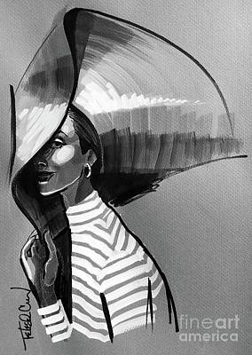 Straw Hat Drawing - Sunscreen A La 1950 by Loretta Tedeschi Cuoco