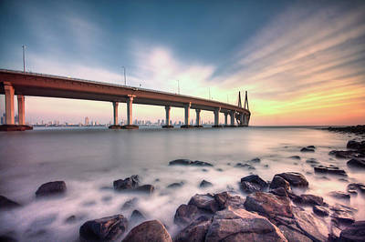 Built Structure Photograph - Sunset - Sea Link by Brendon Fernandes