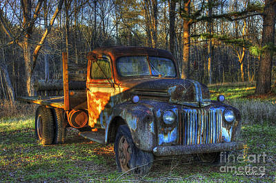 Photograph - Sunset 1947 Ford Stakebed Pickup Truck Art by Reid Callaway