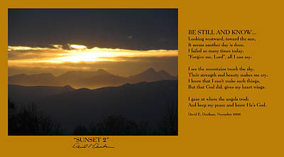 Photograph - Sunset 2 W Poem by David Dunham