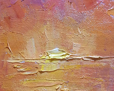 Impressionistic Landscape Painting - Sunset - Abstract Sun Setting Over The Ocean by Karen Whitworth