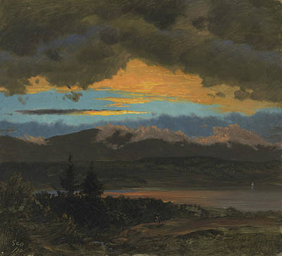 New York Painter Painting - Sunset Across The Hudson Valley New York by Frederic Edwin Church