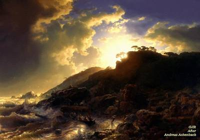 Vintage Uk Posters - Sunset After A Storm On the Coast of Sicily After Andreas Achenbach L A S by Gert J Rheeders