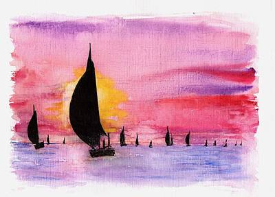 Drawing - Sunset by Al Intindola