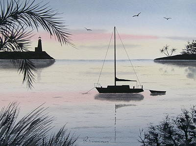 Painting - Sunset Anchorage 4 by Richard Schoessow