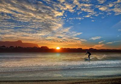 Sunset And A Surfer At Bundoran Art Print