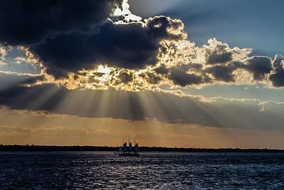 Sunset And A Three Masted Schooner Art Print