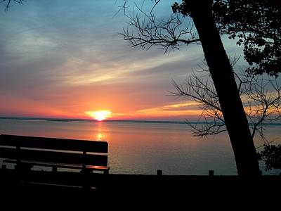 Painting - Sunset And Bench by Kathern Welsh