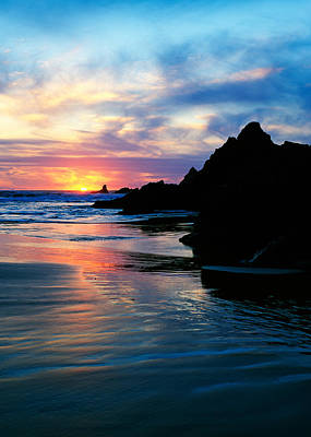 State Parks In Oregon Photograph - Sunset And Clouds Over Crescent Beach by Panoramic Images