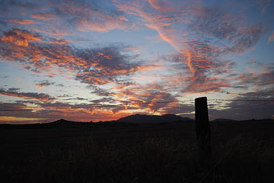 Photograph - Sunset And Fence by Cheryl Dean