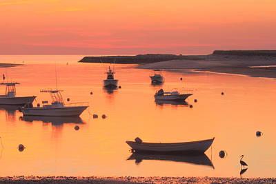 Sunset And Great Blue Heron Pamet Harbor Cape Cod Art Print