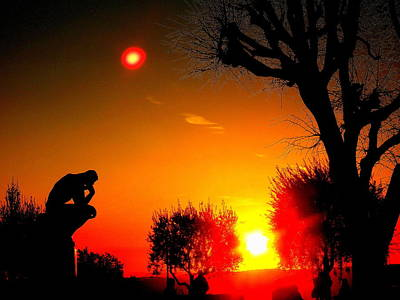 Sunset And Moon In France Art Print