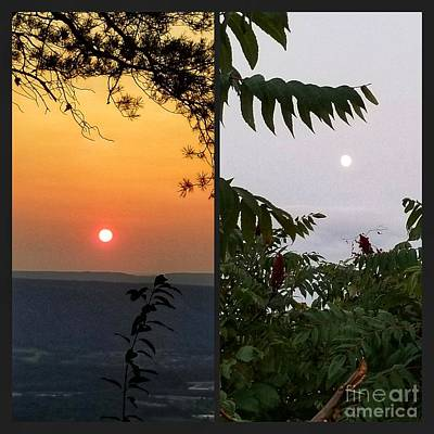 Photograph - Sunset And Moonrise by Rachel Hannah