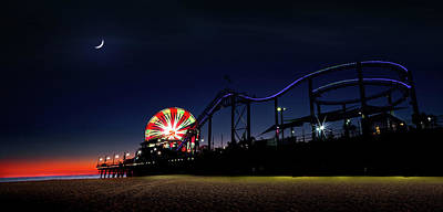 Photograph - Sunset And Moonset At Santa Monica Pier by Mark Andrew Thomas