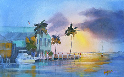 Punta Gorda Painting - Sunset And Peace by Keith Johnson