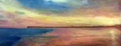Sunset And Pier Art Print