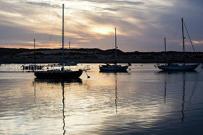 Photograph - Sunset And Sailboats 8b5200 by Stephen Parker