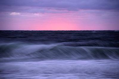 Natural Forces Photograph - Sunset And Storm Surf On The Gulf by Raymond Gehman