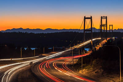 Sunset And Streaks Of Light - Narrows Bridges Tacoma Wa Art Print