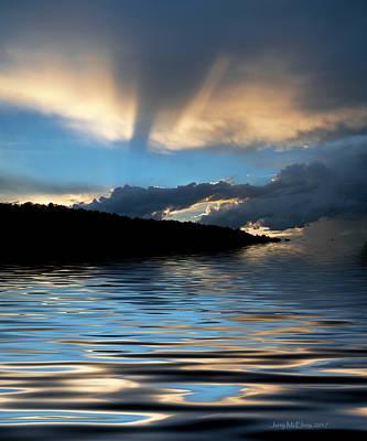 Sunset And Sun Rays Art Print